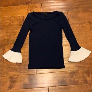 J.Crew Top Sweater Navy White Flutter Sleeve